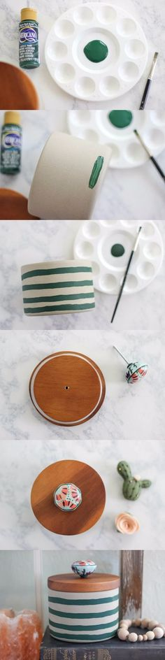 thecasualcraftlete.com - Hand-Painted Striped Concrete Canister With Knob Pull