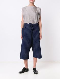 Image result for Issey Miyake Cauliflower Striped Cropped Trousers Blue