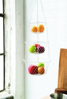 Fox Run 3 Tier Hanging Fruit Vegetable Kitchen Storage Basket - Colors may vary #FoxRun