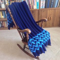 New Soft Navy & Delft Blue Afghan/Throw Hand Crochet by YarnQueens