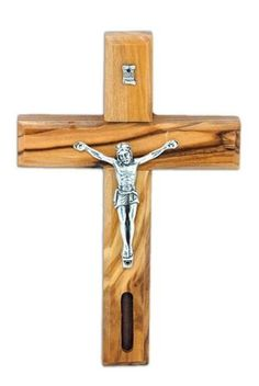 No Greater Love Olive Wood Comforting Cross Engraved with Crown of Thorns and