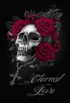 Eternal Love Skull Tattoos, Rose Tattoos, Tatoos, Rose And Butterfly Tattoo, Sugar Skull Girl, Gothic Crosses, Christian Tattoos, Skull Wallpaper, Skulls And Roses