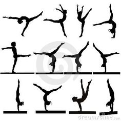 Photo about Silhouette gymnast dancer, set of ballerina female flexible pose, human over isolated white background. Image of fitness, jumping, exercise - 38671685 Gymnastics Cakes, Gymnastics Birthday, Gymnastics Tattoo, Gymnastics Skills, Gymnastics Stuff, Gymnastics Team, Cheerleading, Silhouette Projects, Silhouette Cameo