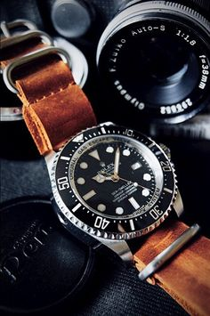 Watches and Timekeepers Rolex Sea Dweller with leather NATO strap Dream Watches, Luxury Watches, Cool Watches, Rolex Watches, Watches For Men, Men's Rolex, Sea Dweller, Der Gentleman, Nato Strap