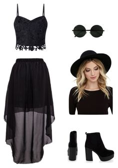 """Black dressy"" by courtney-brooke4 ❤ liked on Polyvore featuring Lipsy and RHYTHM"