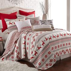 Silent Night King Set, Red/Grey/White, Cotton Christmas Holiday