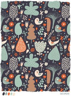 Julia Grigorieva-this is very similar to the color palette that i want for the kitchen...this would be so cute framed and hanging in the kitchen! #pattern