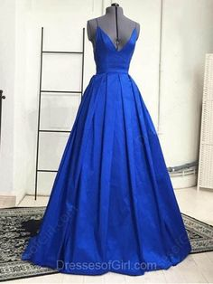 Royal Blue Plunge V-Neck Prom Dresses, Sexy Prom Dresses with Crisscross Back, Ball Gown Prom Dresses, #02019053 - Thumbnail 1