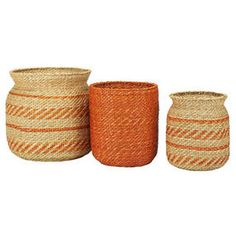 S/3 Sea Grass Storage Baskets, Orange