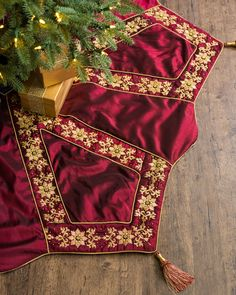 "72"" Burgundy and Gold Christmas Tree Skirt 