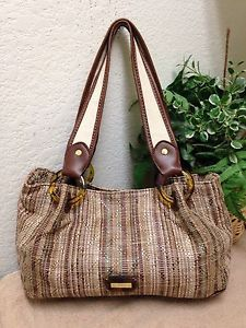 427629cfe0 Relic Brown Striped Woven Straw Tortoise Shell Leather Trim Shoulder  Handbag Bag