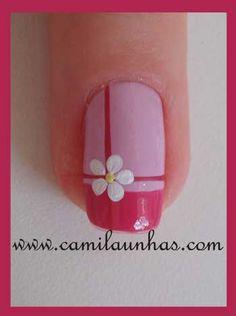 Make an original manicure for Valentine's Day - My Nails Fancy Nails, Trendy Nails, Diy Nails, Nail Polish, Flower Nail Art, Nail Swag, Super Nails, Toe Nail Designs, Creative Nails