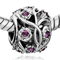 Pandora February Birthstone Flower Ball Silver Charm