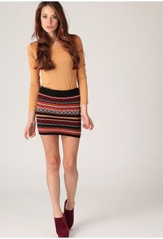 A Navajo Print Knitted Mini Skirt Makes The Outfit
