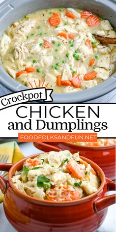 This recipe has everything you love about homemade chicken and dumplings but with a few shortcuts like using a crockpot and canned biscuits! For more easy crockpot recipes follow, Food Folks and Fun! Slow Cooker Recipes, Crockpot Recipes, Cooking Recipes, Easy Crockpot Chicken, Chicken Recipes, Homemade Chicken And Dumplings, Canned Biscuits, Dumpling Recipe, Kitchens