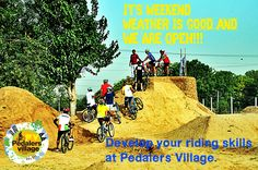 This weekend challenge yourself at Pedalers Village. #pedalersvillage #mtb #bmx #bikepark #pumptrack #dirtjumps #weekend #challenge