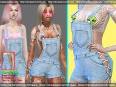 The Sims 4 Short Overall (FullBody) Sims 4 Mods Clothes, Sims 4 Clothing, Female Clothing, The Sims 2, Sims Cc, Los Sims 4 Mods, The Sims 4 Cabelos, Cc Fashion, Christmas Games For Kids