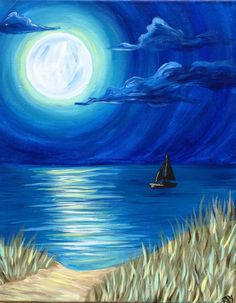 40 Simple and Easy Acrylic Landscape Painting Ideas Oil Pastel Paintings, Simple Acrylic Paintings, Pastel Art, Sailboat Painting, Easy Canvas Painting, Easy Landscape Paintings, Landscape Art, Art Painting Gallery, Painting & Drawing
