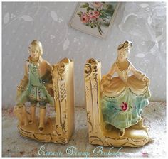 Gorgeous Vintage Chalk ware French Figural Bookends. Chalk figures were everywhere...I so remember these.