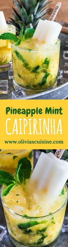 Pineapple Mint Fruit Bar Caipirinha | www.oliviascuisine.com | Summer is almost here and this Pineapple Mint Fruit Bar Caipirinha will be the hit of your parties! Sweet, refreshing and very easy to make. Who doesn't love that? (Recipe by @oliviascuisine.) #sponsored