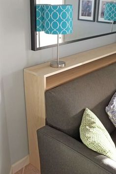DIY Sofa Table - narrow table with electrical outlets behind couch instead of a . - DIY Sofa Table – narrow table with electrical outlets behind couch instead of a coffee table in f -