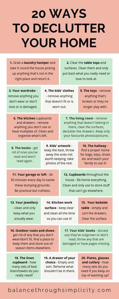 20 WAYS TO DECLUTTER YOUR HOME - How do you feel about your house right now? Is it a place that you love to be? Or is it a burden on your time and energy? Konmari, House Cleaning Checklist, Cleaning Hacks, Cleaning Schedules, Cleaning Lists, Speed Cleaning, Weekly Cleaning, Household Cleaning Tips, Casa Clean