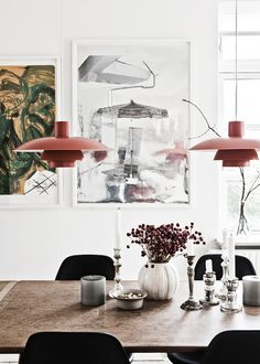 Love those lights! The home of Louise Simony. Photo Peter Kragballe via Hunch