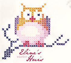 Close-up of cross-stitch owl.