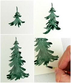 watercolor pine tree