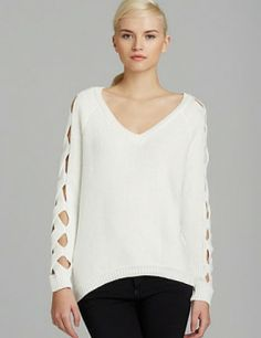 MILLY Criss Cross Sleeves Sweater