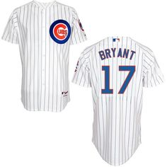 Kris Bryant White Striped Home Mens Cool Base Stitched Baseball Jersey. (Small, this one or the blue one below)