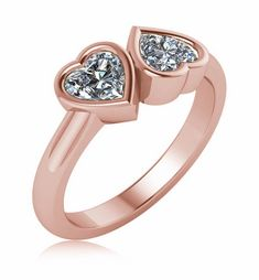 Double 1 Carat Each Heart Shaped Lab Created Simulated Diamond Look Cubic Zirconia Bypass Bezel Set Engagement Ring in Rose Gold. Bezel Set Ring, Bypass Ring, Valentine Day Special, Cubic Zirconia Rings, 1 Carat, Promise Rings, Heart Shapes, 925 Silver, Rose Gold