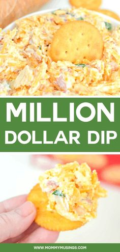 Million Dollar Dip - 5 minutes and 5 ingredients to make the best party dip! #diprecipes #appetizers #partyfood #easyappetizer