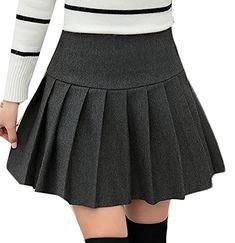 4e11a08f5d Fulok Womens Casual High Waist Flared Casual Mini Skater Skirt Dark Grey M  * ** AMAZON BEST BUY ** #SummerOutfit