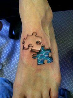 3D Tattoo Fuss Puzzle Frau