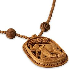NOVICA Hand Carved Wood Pendant Long Beaded Necklace 25 Elephant Realm Handmade *** Click image to review more details.