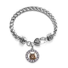 Maine Coon Cat Circle Charm Braided Bracelet