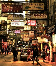 Traveling People Watching Streetphotography Evening Signs HongKong Orange Yellow Trip Nostalgia China Foreign | EyeEm