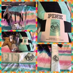 "BNWT Pink Victoria's Secret Beach Bundle BNWT Pink Victoria's Secret Beach Bundle is includes 32 oz clear water bottle w/ PINK in black letters. 1 oversized teal beach towel.  The towel says ""we run this beach"" and is 70 inches X 40.  1 Sling Cooler in teal with PINK in white letters and Pink logo in black.  Holds up to 12 cans.  No trades.  Will price drop. PINK Victoria's Secret Accessories"
