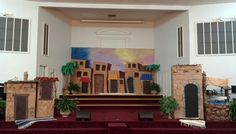 Nazareth VBS stage decorations, buildings, palm trees, town, well