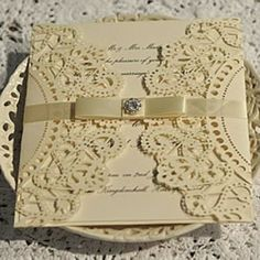 paper doily wedding invitations | Happy Ever After - Doily Lasercut wallet (ivory)