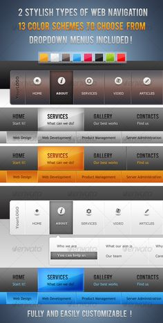 Web Elements - Web Navigation Pro - Modern & Clean Web Menus | GraphicRiver