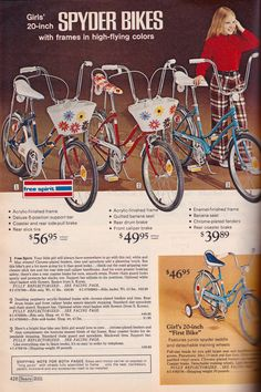 Sears wish book, 1973 1970s Childhood, My Childhood Memories, Childhood Toys, Old Advertisements, Retro Advertising, Cycling Art, Cycling Quotes, Cycling Jerseys, Banana Seat Bike