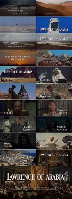 Lawrence of Arabia trailer typography – the Movie title stills collection ✇ 'LAWRENCE OF ARABIA' directed by David Lean, starring Peter O'Toole, Alec Guinness, Anthony Quinn, Omar Sharif Movie Titles, I Movie, Movie Posters, Classic Movie Stars, Classic Movies, Great Movies, New Movies, David Lean, Alec Guinness