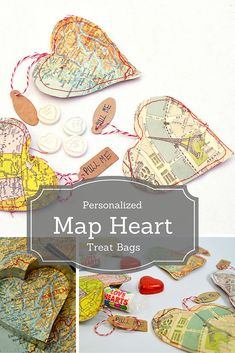 Best Diy Crafts Ideas These Map Heart treat bags make for a gorgeous gift. They can be personalized by using maps of your favourite city or where your first met. Perfect for valentines day! Valentines Bricolage, Valentine Day Crafts, Valentines Hearts, Craft Gifts, Diy Gifts, Handmade Gifts, Cheap Gifts, Personalized Gifts, Craft Tutorials
