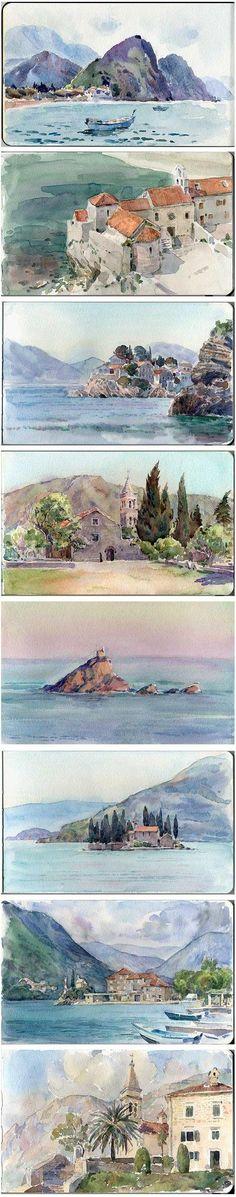 plein air watercolor sketches by ~art-bat on deviantART
