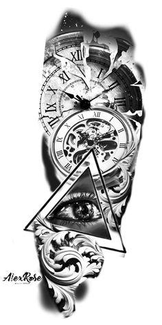 Card Tattoo Designs, Clock Tattoo Design, Lion Tattoo Design, Tattoo Designs Men, Half Sleeve Tattoos For Guys, Full Sleeve Tattoos, Clock Tattoo Sleeve, Clock Tattoos, Full Sleeve Tattoo Design