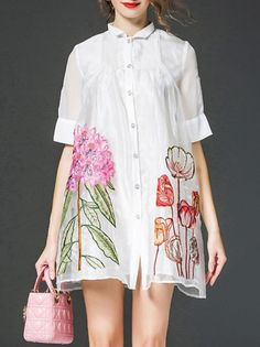 Vicky and Lucas White Floral Shirt Dress - Women Unique Outfits, Stylish Outfits, Floral Shirt Dress, Flowing Dresses, Shirt Embroidery, Silk Mini Dress, All About Fashion, Half Sleeves, Style Inspiration