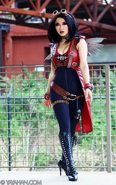 Yaya Han  #Cosplay #Steampunk. Love this cuz its streamline + little wings!