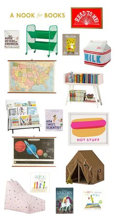 With school starting comes the homework and reading! Here are some of our favorite books, and a few fun things that would make for a really special reading nook … Outdoor Play Spaces, Home Depot Adirondack Chairs, Garden Table And Chairs, Toddler Rooms, Kids Rooms, Dream Furniture, Accent Chairs For Living Room, Cool Chairs, Houses